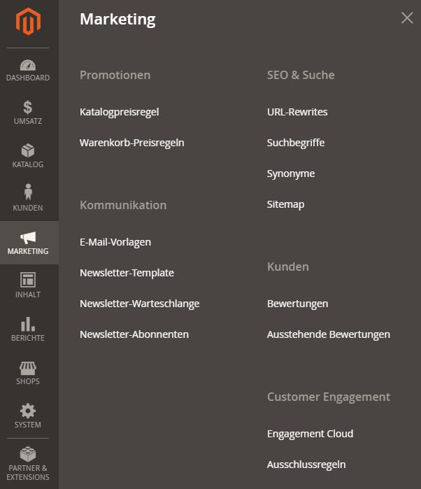 Magento Navigation - Shopeinstellungen