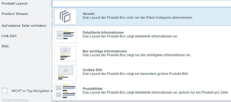 Auswahlfenster der verfügbaren Produkt-Layouts