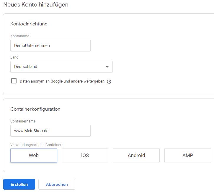 Erstellen eines Konto bei Google Tag Manager