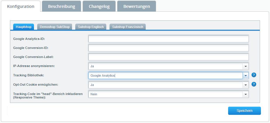 Konfiguration des Google Integration Plugin