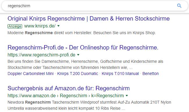 Beispiel für Ergebnisse in der Google Suche