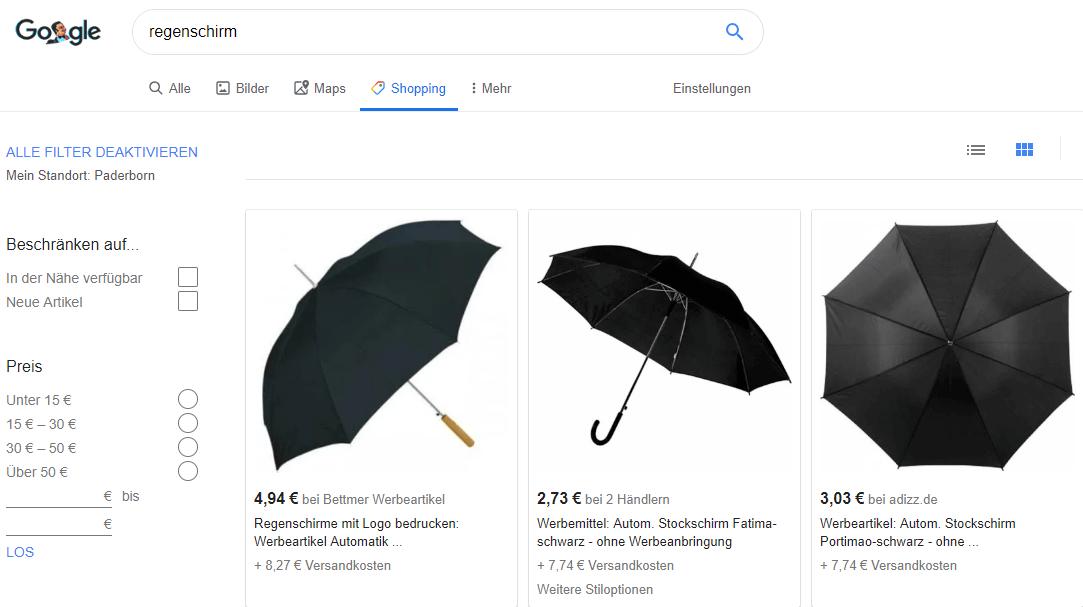 Beispiel für die Google Shopping Seite