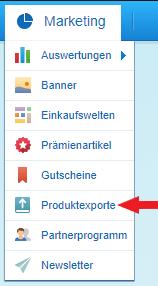 Navigation zum Produktexport