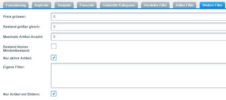 Filtereinstellungen für den Produktexport